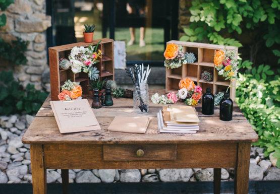 Location décoration table en bois brut